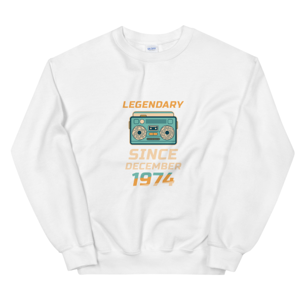 Legendary Since December 1974 Unisex Vintage Sweatshirt (White)