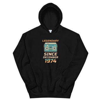 Legendary Since December 1974 Unisex Vintage Hoodie (Black)