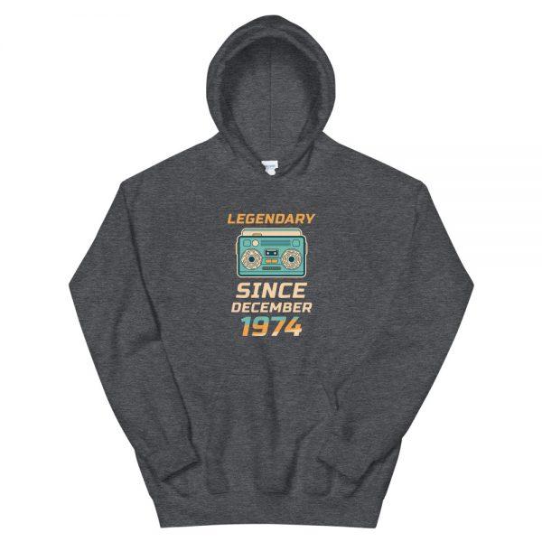 Legendary Since December 1974 Unisex Vintage Hoodie (Dark Heather)