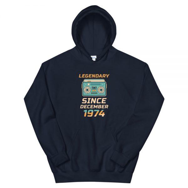 Legendary Since December 1974 Unisex Vintage Hoodie (Navy)