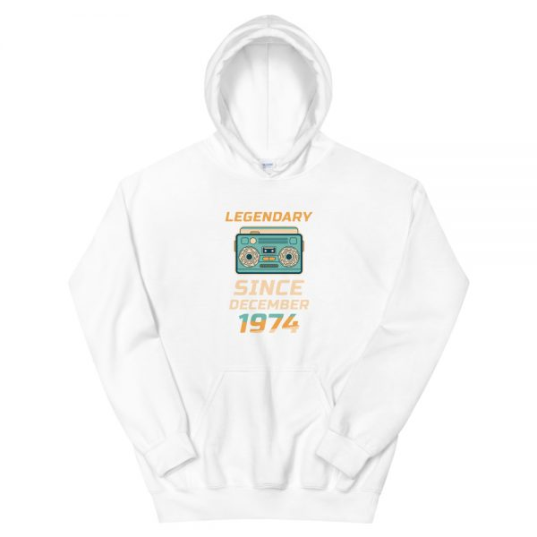 Legendary Since December 1974 Unisex Vintage Hoodie (White)